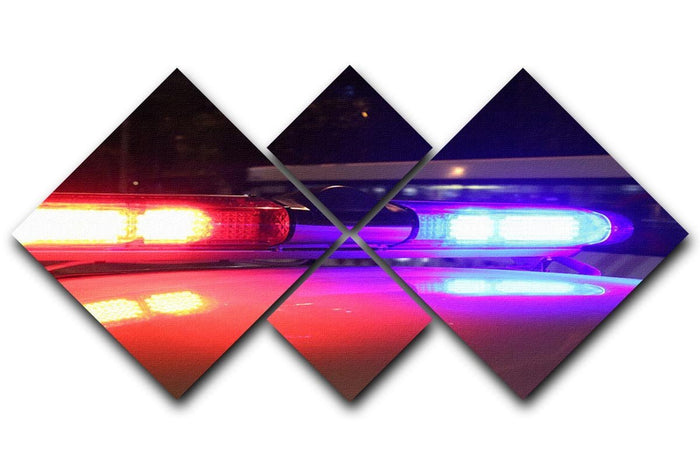 Police lights 4 Square Multi Panel Canvas