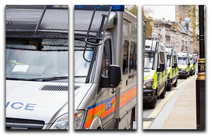 Police vans in a row 3 Split Panel Canvas Print - Canvas Art Rocks - 1