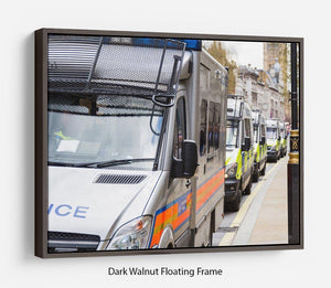 Police vans in a row Floating Frame Canvas