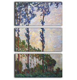 Poplar series wind by Monet 3 Split Panel Canvas Print - Canvas Art Rocks - 1