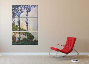 Poplar series wind by Monet 3 Split Panel Canvas Print - Canvas Art Rocks - 2