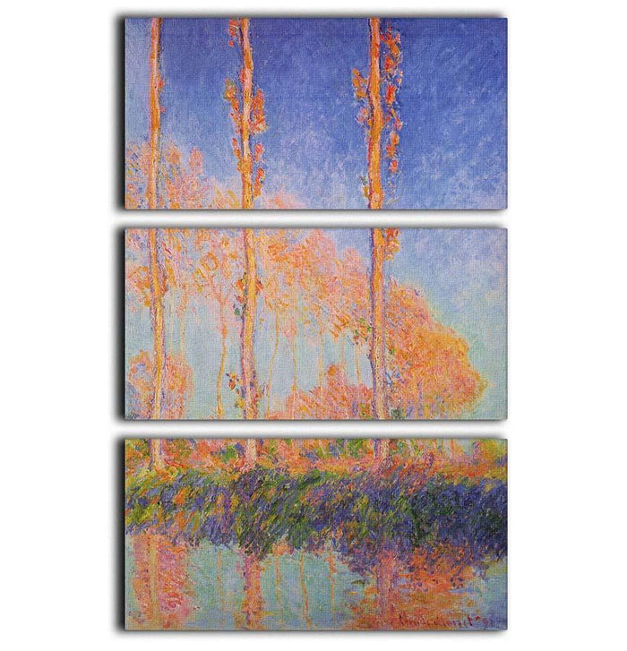 Poplars at Philadelphia by Monet 3 Split Panel Canvas Print