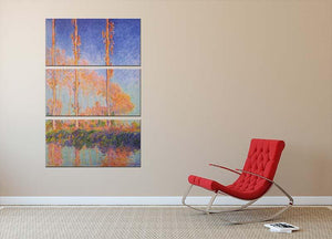 Poplars at Philadelphia by Monet 3 Split Panel Canvas Print - Canvas Art Rocks - 2