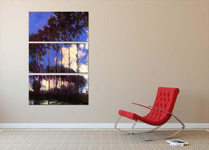 Poplars at the Epte by Monet 3 Split Panel Canvas Print - Canvas Art Rocks - 2