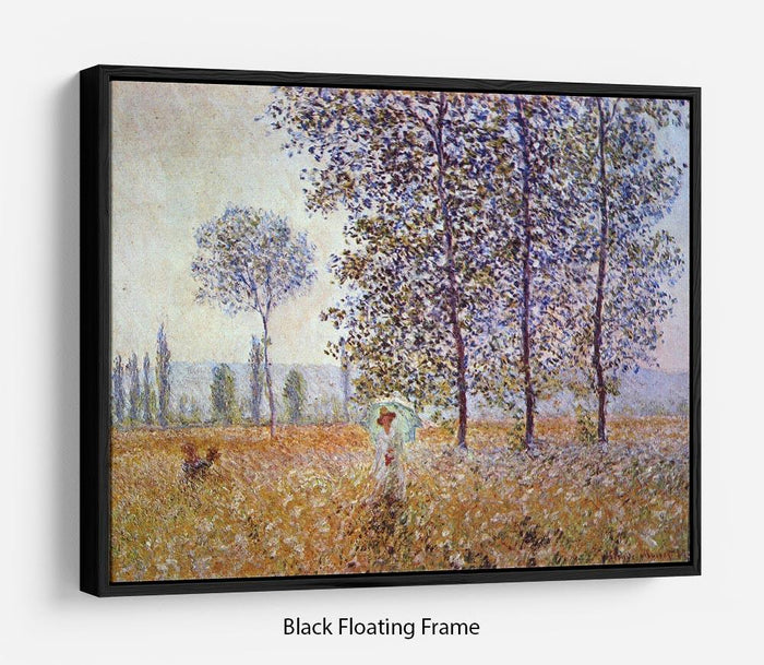 Poplars in the sunlight by Monet Floating Frame Canvas