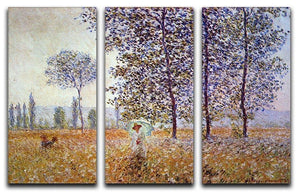 Poplars in the sunlight by Monet Split Panel Canvas Print - Canvas Art Rocks - 4