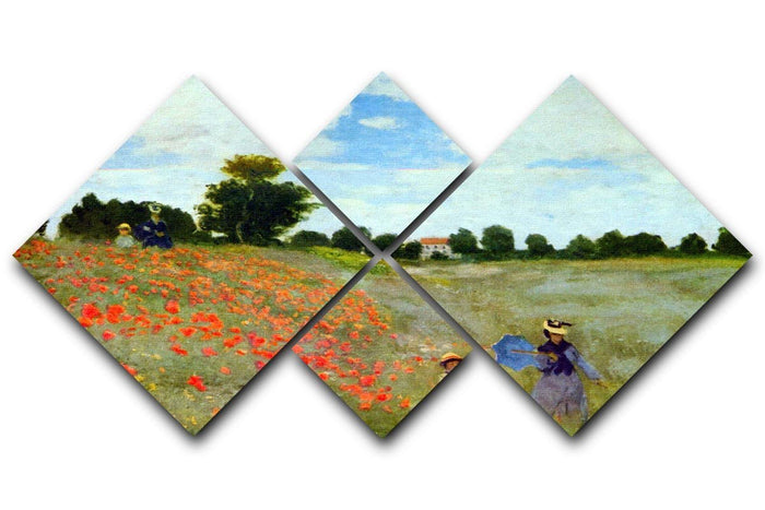 Poppies by Monet 4 Square Multi Panel Canvas