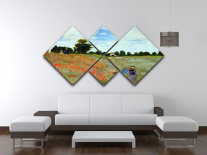 Poppies by Monet 4 Square Multi Panel Canvas - Canvas Art Rocks - 3