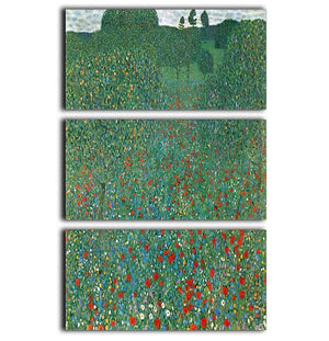 Poppy Field by Klimt 3 Split Panel Canvas Print - Canvas Art Rocks - 1