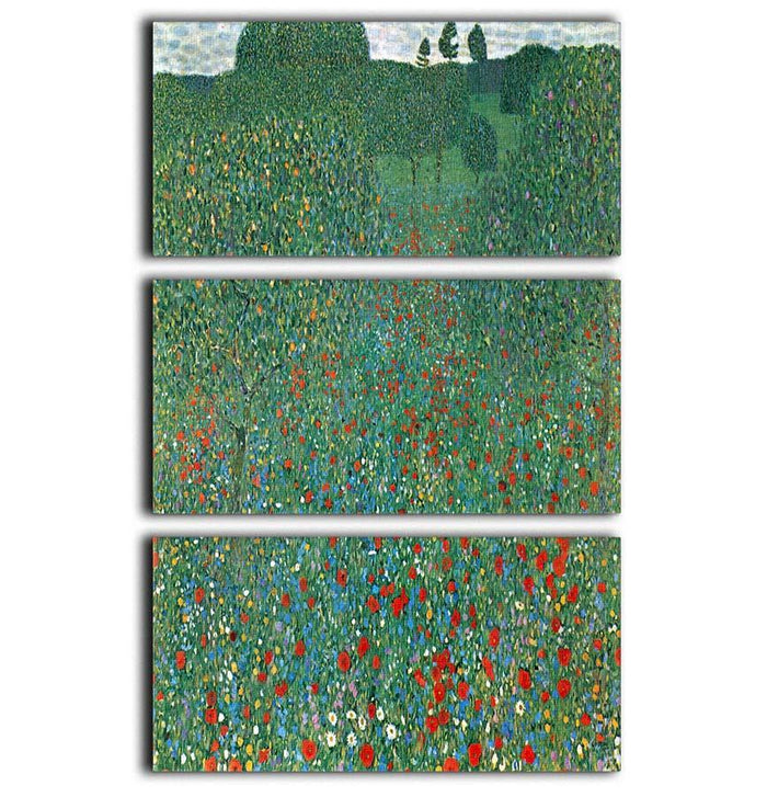 Poppy Field by Klimt 3 Split Panel Canvas Print