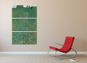 Poppy Field by Klimt 3 Split Panel Canvas Print - Canvas Art Rocks - 2