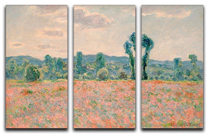 Poppy Field by Monet Split Panel Canvas Print