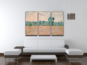Poppy Field by Monet Split Panel Canvas Print - Canvas Art Rocks - 4