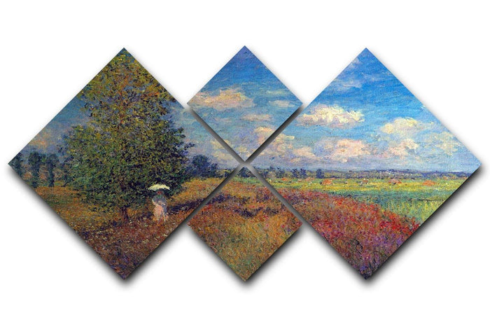 Poppy Field in Summer by Monet 4 Square Multi Panel Canvas