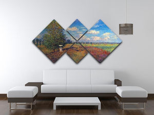 Poppy Field in Summer by Monet 4 Square Multi Panel Canvas - Canvas Art Rocks - 3