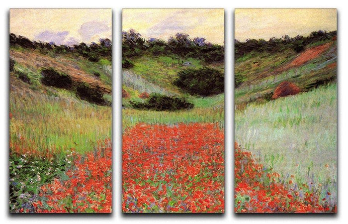 Poppy Field of Flowers in Giverny by Monet Split Panel Canvas Print