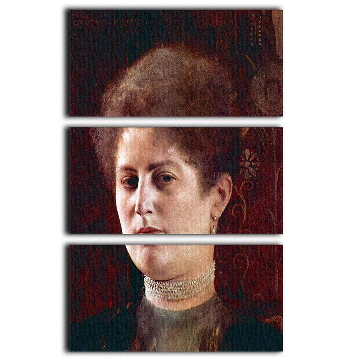 Portrai of a Woman by Klimt 3 Split Panel Canvas Print