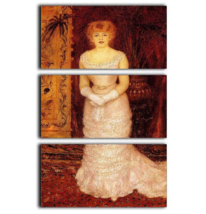 Portrait Of The Actress Jeanne Samary by Renoir 3 Split Panel Canvas Print - Canvas Art Rocks - 1