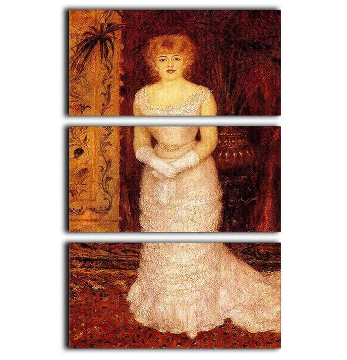 Portrait Of The Actress Jeanne Samary by Renoir 3 Split Panel Canvas Print
