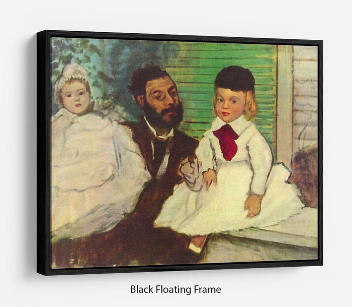 Portrait of Count Lepic and his daughters by Degas Floating Frame Canvas