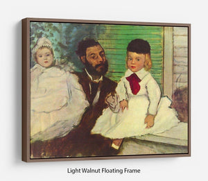 Portrait of Count Lepic and his daughters by Degas Floating Frame Canvas - Canvas Art Rocks 7