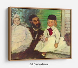 Portrait of Count Lepic and his daughters by Degas Floating Frame Canvas - Canvas Art Rocks - 9