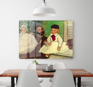 Portrait of Count Lepic and his daughters by Degas HD Metal Print - Canvas Art Rocks - 2