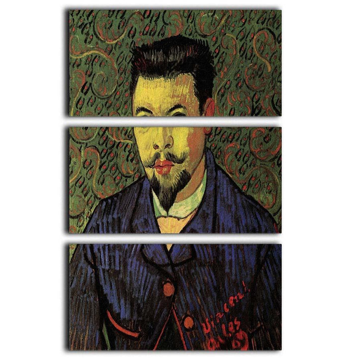 Portrait of Doctor Felix Rey by Van Gogh 3 Split Panel Canvas Print