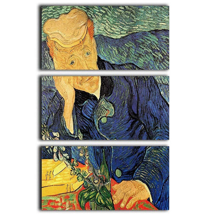 Portrait of Doctor Gachet 2 by Van Gogh 3 Split Panel Canvas Print