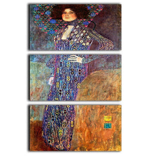 Portrait of Emily Floge by Klimt 3 Split Panel Canvas Print - Canvas Art Rocks - 1