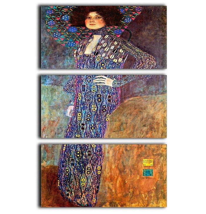 Portrait of Emily Floge by Klimt 3 Split Panel Canvas Print