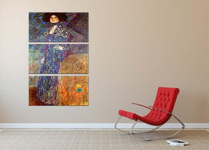 Portrait of Emily Floge by Klimt 3 Split Panel Canvas Print - Canvas Art Rocks - 2