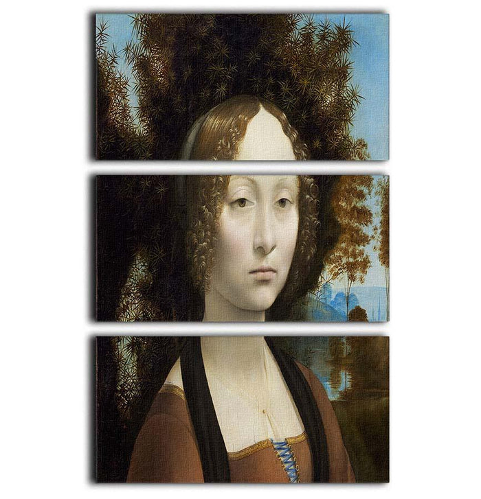 Portrait of Ginevra de Benci by Da Vinci 3 Split Panel Canvas Print