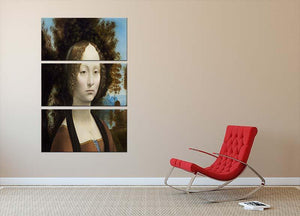 Portrait of Ginevra de Benci by Da Vinci 3 Split Panel Canvas Print - Canvas Art Rocks - 2