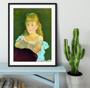 Portrait of Lina Campineanu by Manet Framed Print - Canvas Art Rocks - 1