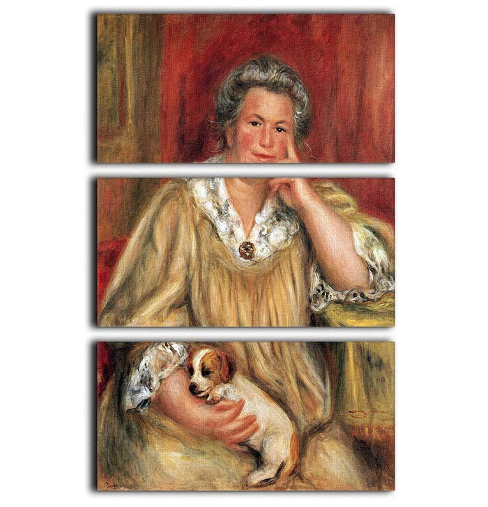 Portrait of Madame Renoir with Bob by Renoir 3 Split Panel Canvas Print