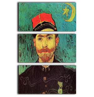 Portrait of Milliet Second Lieutenant of the Zouaves by Van Gogh 3 Split Panel Canvas Print - Canvas Art Rocks - 1