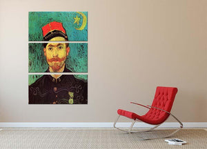 Portrait of Milliet Second Lieutenant of the Zouaves by Van Gogh 3 Split Panel Canvas Print - Canvas Art Rocks - 2