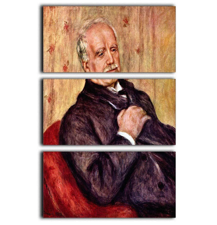 Portrait of Paul Durand Ruel by Renoir 3 Split Panel Canvas Print