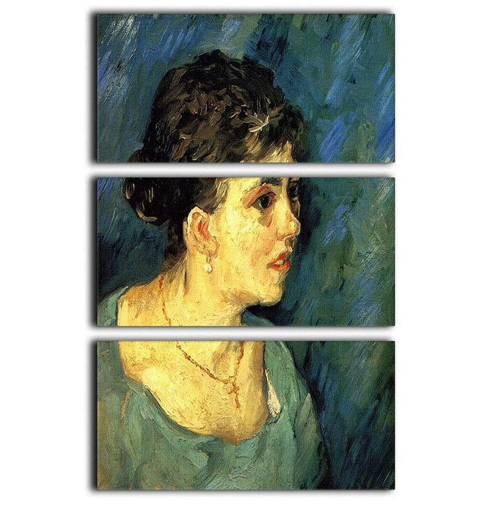 Portrait of Woman in Blue by Van Gogh 3 Split Panel Canvas Print