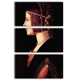 Portrait of a Lady Beatrice d Este by Da Vinci 3 Split Panel Canvas Print - Canvas Art Rocks - 1