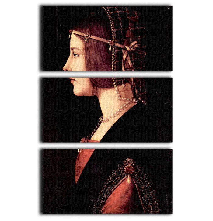 Portrait of a Lady Beatrice d Este by Da Vinci 3 Split Panel Canvas Print