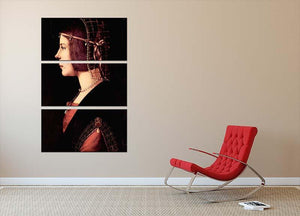Portrait of a Lady Beatrice d Este by Da Vinci 3 Split Panel Canvas Print - Canvas Art Rocks - 2
