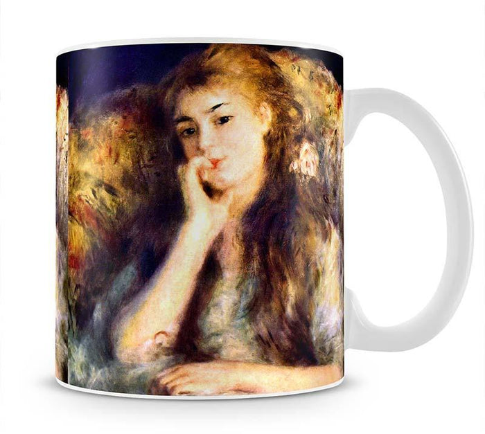 Portrait of a girl in thoughts by Renoir Mug