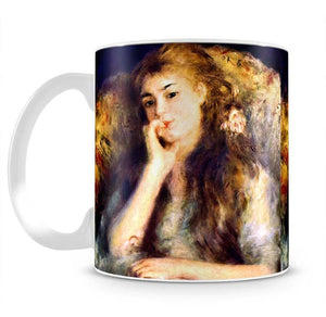 Portrait of a girl in thoughts by Renoir Mug - Canvas Art Rocks - 2