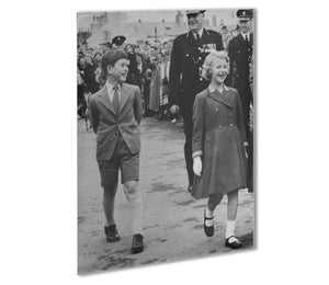 Prince Charles and Princess Anne as children Outdoor Metal Print - Canvas Art Rocks - 1