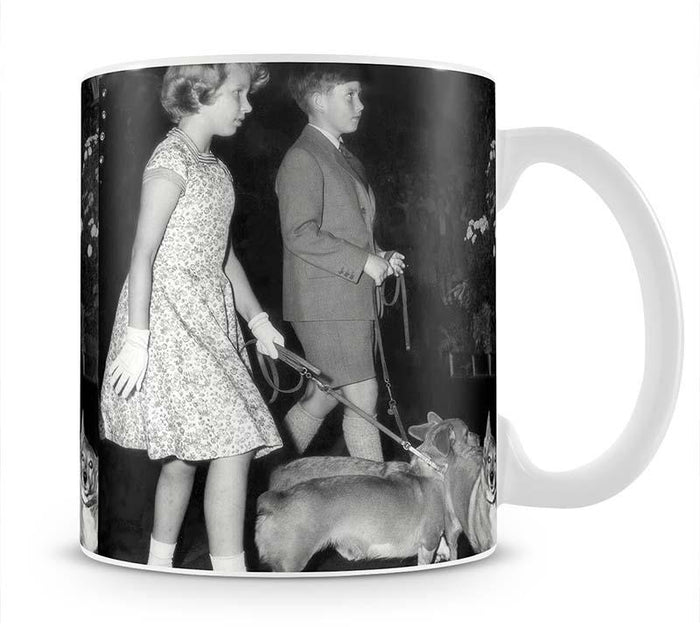 Prince Charles with Princess Anne as children with pet dogs Mug