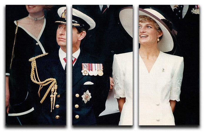 Prince Charles with Princess Diana British forces homecoming 3 Split Panel Canvas Print