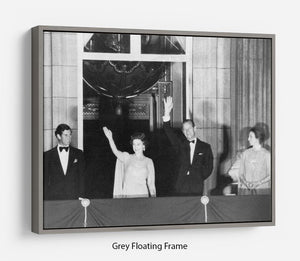 Prince Charles with family during Silver Jubilee fireworks Floating Frame Canvas
