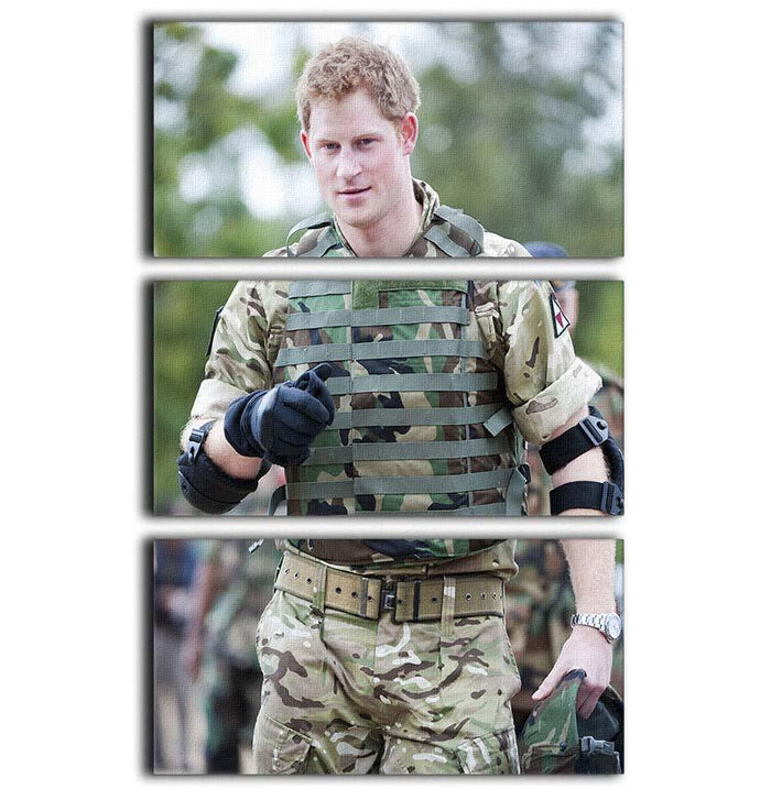 Prince Harry at the Jamaican Defence Force in Jamaica 3 Split Panel Canvas Print